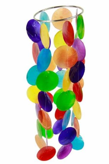 Farbiges Chakra Windspiel Capiz-Schale - klein